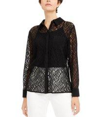 alfani petite lace shirt, created for macy's