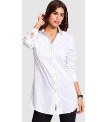 blus i lång modell alba moda vit