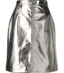alexa chung metallic mini skirt - silver