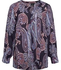 blouse print plus buttons v neck blus långärmad blå zizzi