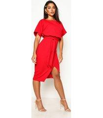 midi jurk met boothals en ceintuur, rood