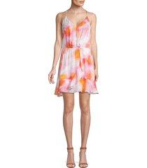 parker women's kesha tie-dye silk-blend mini dress - sunset tie dye - size xl