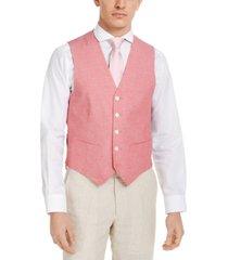 tommy hilfiger men's modern-fit th flex stretch red chambray vest