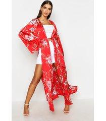 kimono met split aan de zijkant, riem en bloemenprint, rood