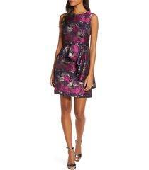 women's vince camuto metallic asymmetrical peplum sheath dress