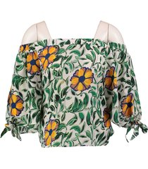 anonyme korte off shoulder polyester blouse