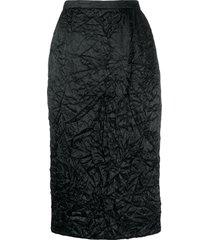 rochas crinkle effect pencil skirt - black
