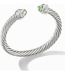 david yurman cable classics bracelet with semiprecious stones & diamonds, 7mm, size large in silver/diamond/prasiolite at nordstrom