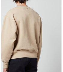 ami men's oversized de coeur logo sweatshirt - beige - xxl