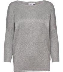a2561, knit blouse w rib sl stickad tröja grå saint tropez