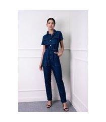 macacão longo sisal jeans com manga curta azul escuro