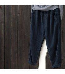 zanzea mujeres sólido pantalones básicos suelta más la alta cintura del tamaño pantalones de algodón azul marino -azul