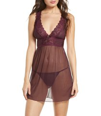 women's oh la la cheri nora babydoll chemise, size small/medium - purple
