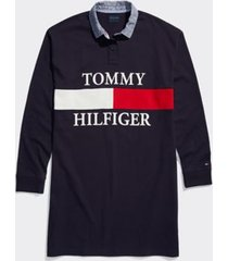 tommy hilfiger women's adaptive signature rugby dress masters navy/ multi - xs