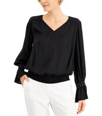 jm collection petite embellished-cuff blouse, created for macy's