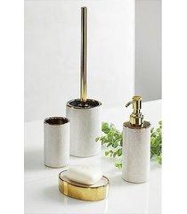szczotka toaletowa i pojemnik luna srebrno złota