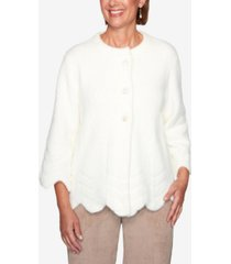 alfred dunner women's missy dover cliffs novelty feather yarn jacket