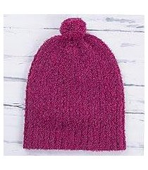 alpaca blend hat, 'attractive magenta' (peru)