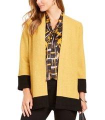 kasper colorblocked open-front jacket