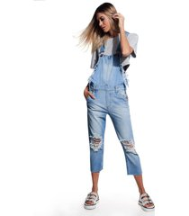 macacão john john calgary jeans azul feminino (jeans claro, gg)