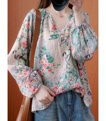 camicetta a maniche lunghe con scollo a v casual stampata floreale