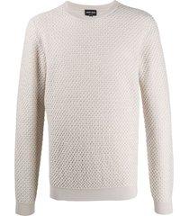 giorgio armani textured long-sleeve sweatshirt - neutrals