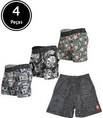 kit com 3 peças de cuecas boxer + 1 short kevland multicolorido