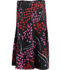 black and red printed midi skirt