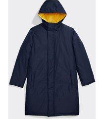 tommy hilfiger men's adaptive hooded long puffer jacket sky captain / lemon - l