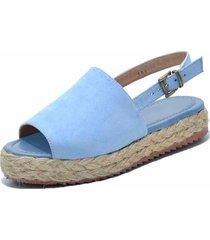sandália anabela flor da pele azul bebe