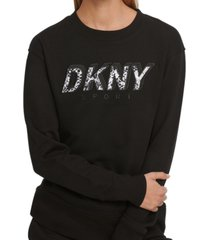 dkny sport printed-logo fleece sweatshirt