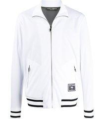 dolce & gabbana full-zip logo patch sweatshirt - white