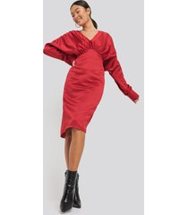 na-kd party gathered dull satin dress - red