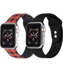men's and women's buffalo plaid black 2 piece silicone band for apple watch 38mm