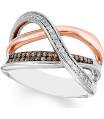 diamond two-tone crossover statement ring (1/4 ct. t.w.) in sterling silver & rose rhodium-plate