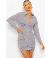 blouse jurk met lange mouwen en ruches, blue