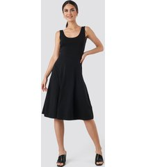trendyol sleeveless jersey midi dress - black