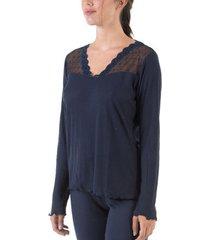 pyjama's / nachthemden selmark carelia marineblauwe pyjamatop met lange mouwen