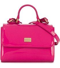dolce & gabbana kids bolsa tiracolo de couro envernizado com logo - rosa