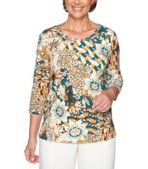 alfred dunner classics floral patchwork print knit top