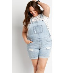 maurices plus size womens light wash ripped cuffed 6in shorts overall blue