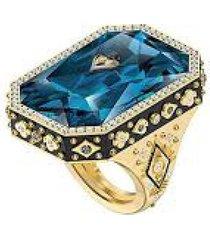 anillo de cóctel tarot magic, azul, baño en tono oro 5513248