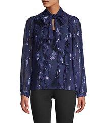 beaded silk pussycat bow blouse