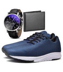 tênis sapatênis urbano com carteira e relógio masculino dubuy 1108db azul