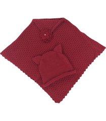 poncho estação do tricô baby com gorro vermelho