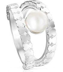 anillo straight tiras de plata y perla plateado tous