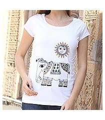 cotton blend t-shirt, 'madhubani elephant' (india)