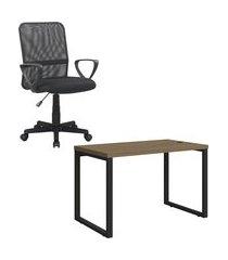 mesa escritório kappesberg 1.20m com cadeira executiva trevalla tl-cde-04-1