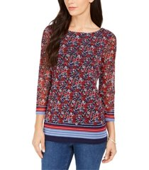 charter club petite floral border top, created for macy's