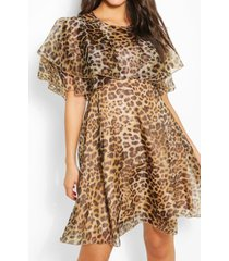 leopard organza ruffle skater dress, brown